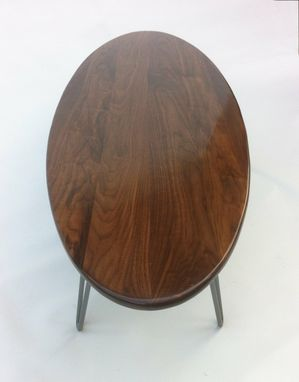 "Custom Made 66"" Elliptical Surf Board Shaped Solid Walnut Mid Century Modern Coffee Table With Hairpin Legs"