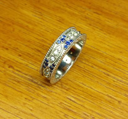 Custom Made Vintage Art Deco Wedding Band With Natural White And Blue Sapphires
