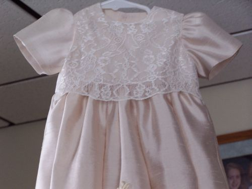 Custom Made Champagne Silk And Embroidered Christening Gown