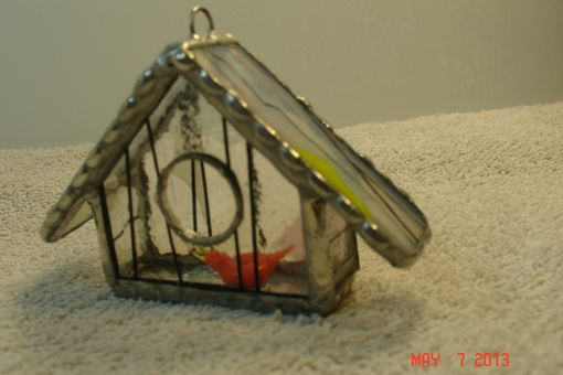 Custom Made Empty Nest Bird House Ornament In Orange Yellow Streamer Glass