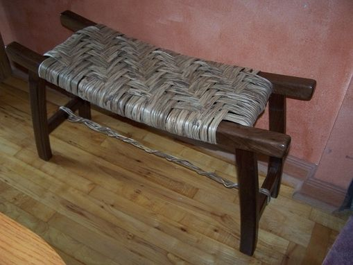 Custom Made Pagoda Bench With Hickory Bark Seat