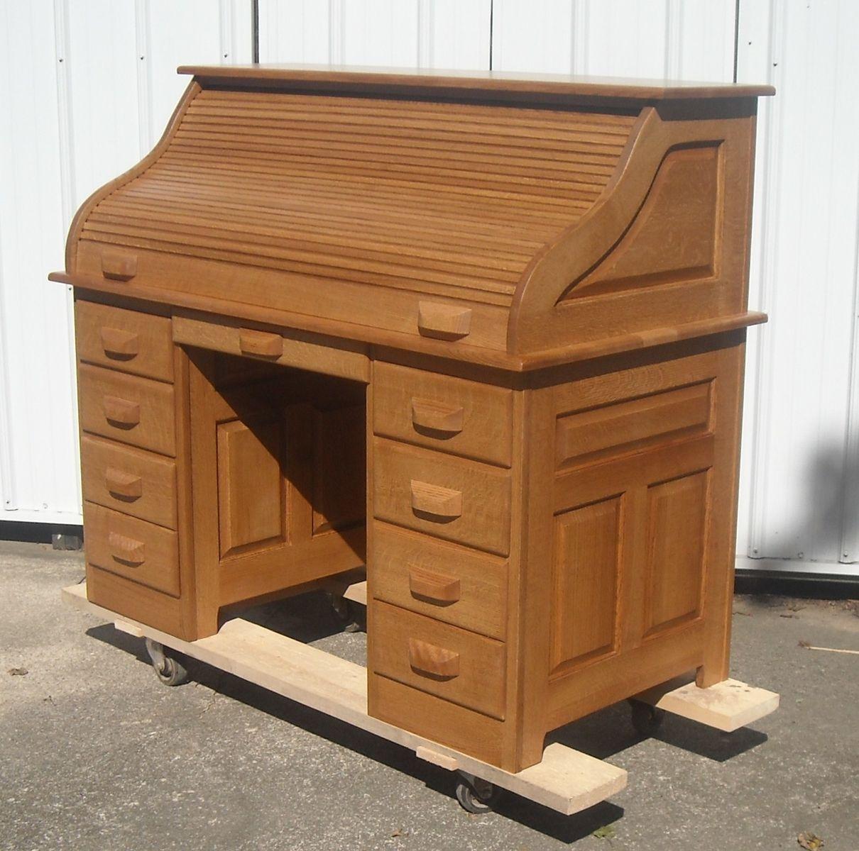 Best Built Furniture: Hand Crafted Quarter Sawed Oak Roll Top Desk By Tom Kies