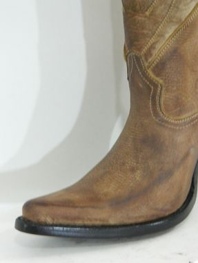 Custom Made Men Cowboy Boots 16¨Tall Distressed Brown Leather Inlay 5¨Heel Men Sizes
