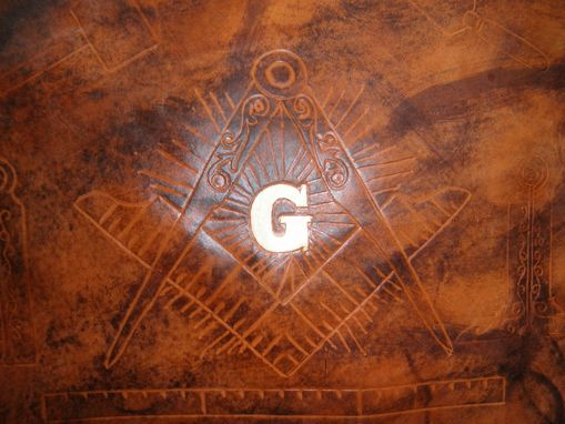 Custom Made Custom Leather Mason Apron Case With Square And Compass Design And In Weathered Color