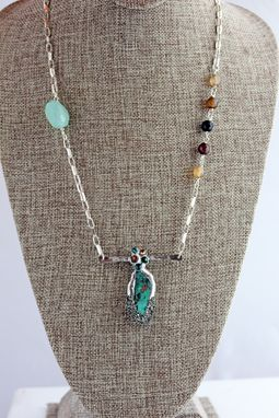 Custom Made Turquoise And Sterling Silver Beaded Necklace