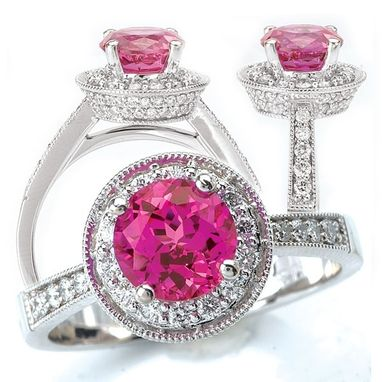 Custom Made 18k Lab-Grown 7.5mm Round Pink Sapphire Engagement Ring With Natural Diamond Halo