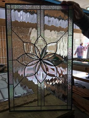 Custom Made All Clear Beveled & Waterglass Stained Glass Window