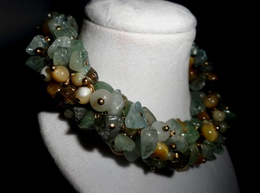 Custom Made Aquamarine, Aventurine, Honey Tigers Eye & Shell Bracelet