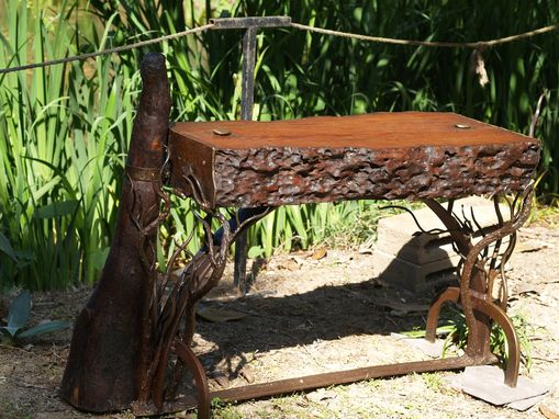 Custom Made Cypress And Hand Forged Iron Bench