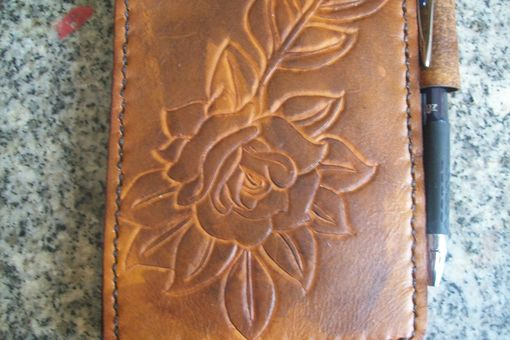 Custom Made Custom Leather Notebook With Rose Design