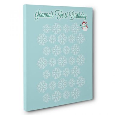 Custom Made Snowman Birthday Guestbook Canvas Wall Art