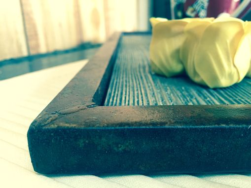 Custom Made Ottoman Tray Serving Tray Rustic Industrial Decor Distressed Weathered Barn Wood