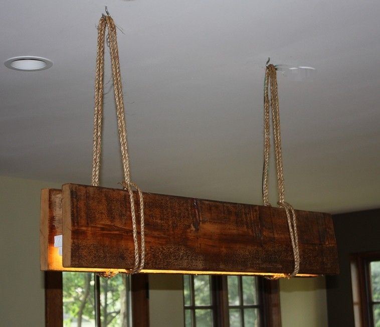 Hand Made Reclaimed Wood & Rope Fluorescent Grow Light By