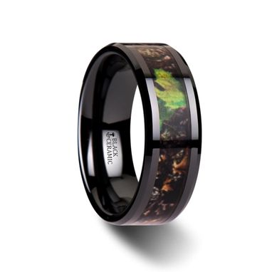 Custom Made Nightfall Realistic Tree Camo Black Ceramic Wedding Band With Green Leaves - 8mm