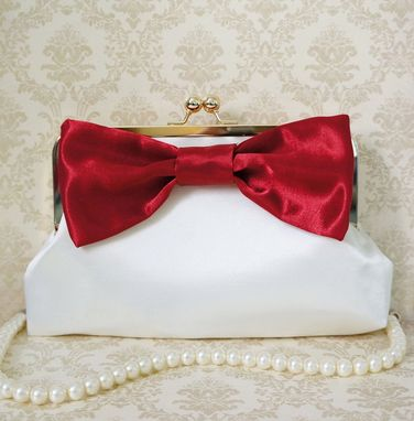 Custom Made Red Clutch Purse With Big Red Bow Accent
