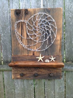 Custom Made Reclaimed Wood Shelf With Featured Nautilus String Art: Rustic Home Decor