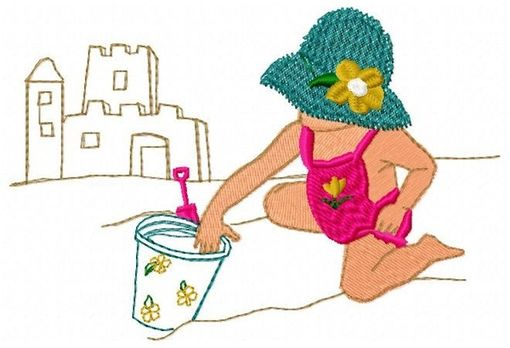 Custom Made Beach Girl Embroidery Design