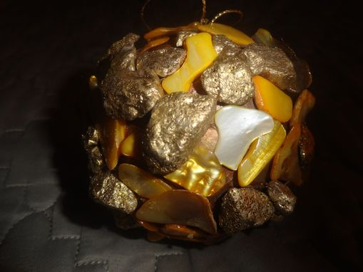 Custom Made Gold Nugget & Gold Colored Shell Ornament