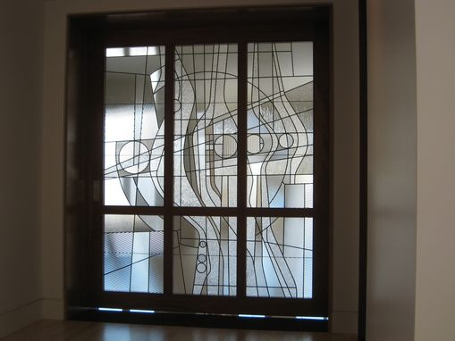Hand Made Contemporary Clear Textured Leaded Glass By The