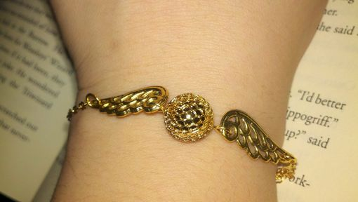 Custom Made Sale Harry Potter Inspired Golden Snitch In Flight Bracelet, Ready To Ship Ready To Ship