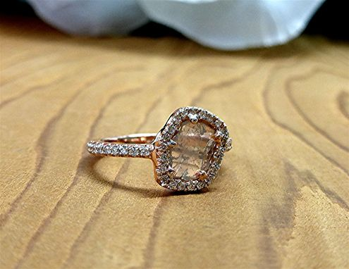 Custom Made Diamond Slice Rose Gold Engagement Ring