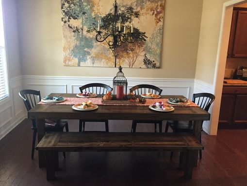 "Custom Made 7'X40"" Dark Walnut Dining Table With Bench Seat"