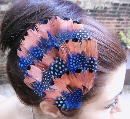 Custom Made Sale Salmon And Blue Feather Hair Fascinator, Ready To Ship