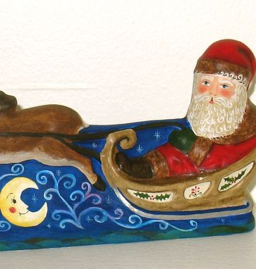 Custom Made Christmas Chalkware Santa On Sleigh From An Antique Chocolate Mold