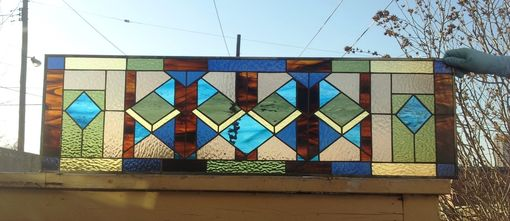 "Custom Made Stained Glass Window Panel -  ""Geometric Layouts Style"" (W-65)"