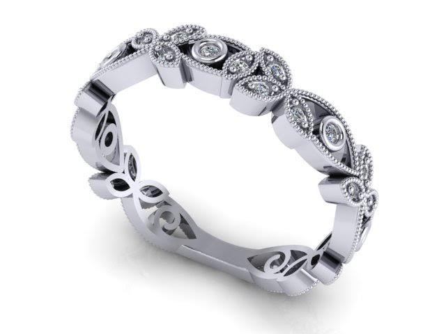 Custom Made 1920 S Art Deco Inspired Diamond Fl Wedding Band 14k White Gold Filigree Milgrain