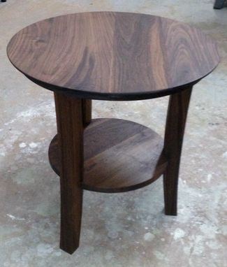 Custom Made Walnut Side Table  Three Legs