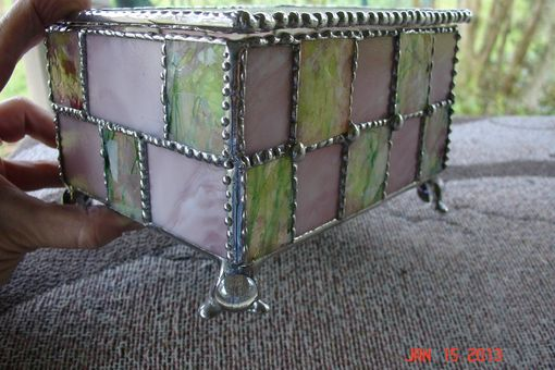 Custom Made Unique Stained Glass Spring Colored Footed Jewelry Box