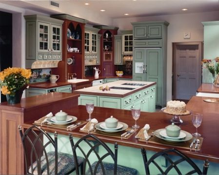 Custom Made Painted Kitchen Cabinets With Mahogany Countertop
