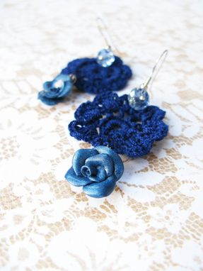Custom Made Blue - Mini Doilies Lace And Handcrafted Polymer Clay Rose Earrings With Crystals