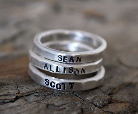 Custom Made Hammered Large Silver Ring - Custom Engraving