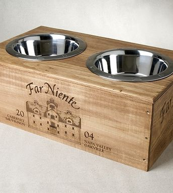 Custom Made Wine Crate Double Dog Feeder