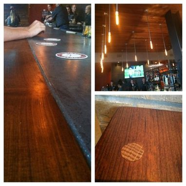 Custom Made Custom Concrete And Reclaimed Wood Bar And Middle Islane