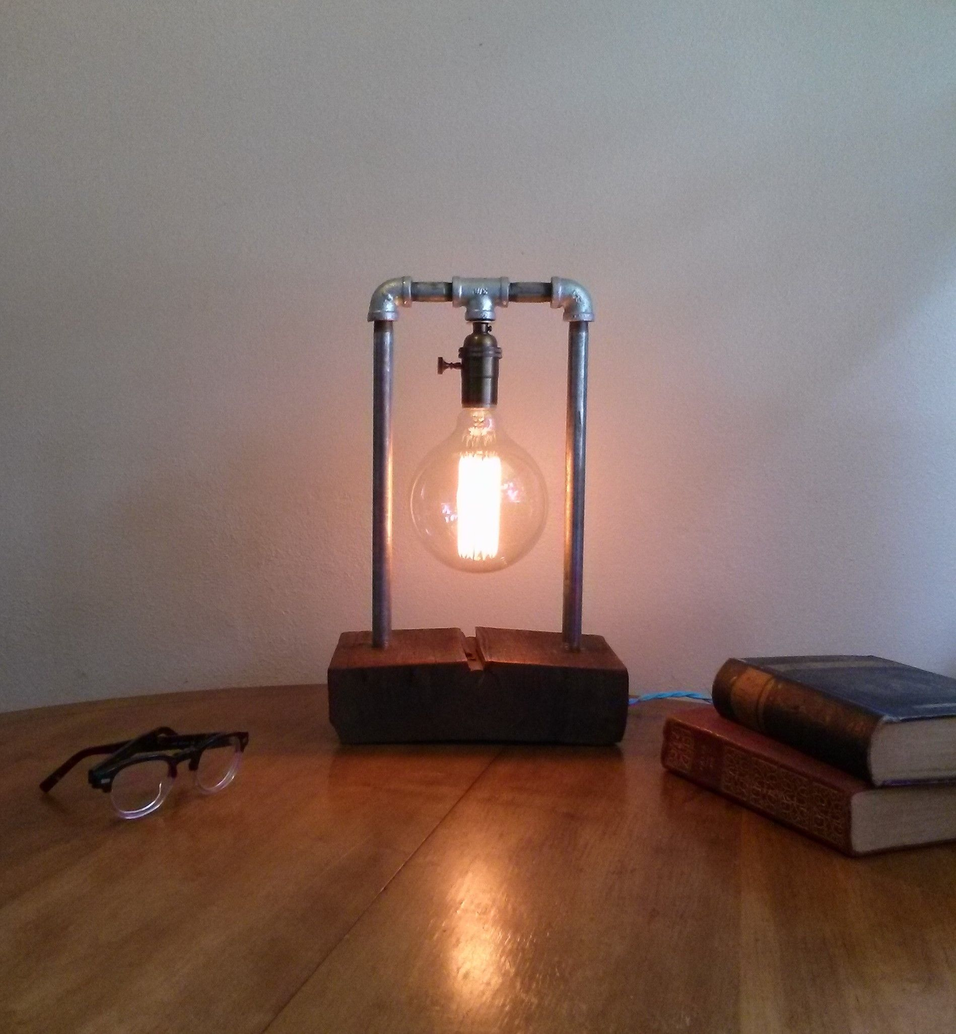 Buy A Hand Made Barnwood Table Lamp Edison Lamp