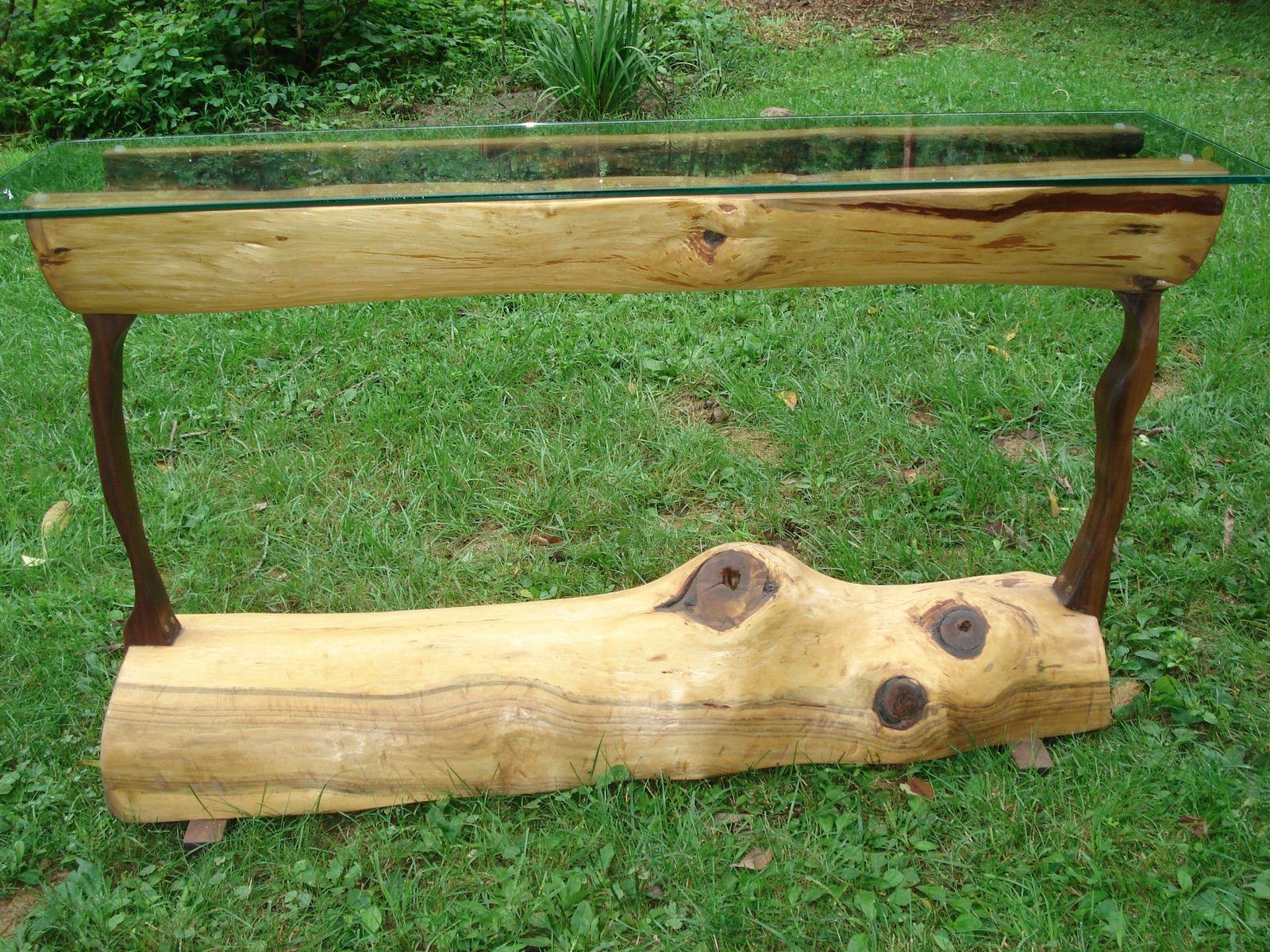 Custom Made Log Sofa Table by Brenda Hall Wood Design
