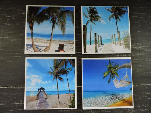 Custom Made Beach Theme Ceramic Coasters