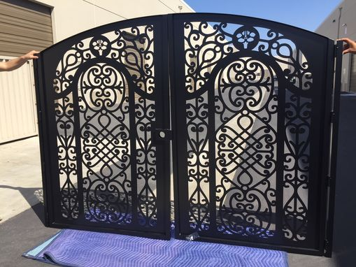 Custom Made Metal Art Dual Entry Gate Custom Flower Monogram Steel Fabricated In Usa