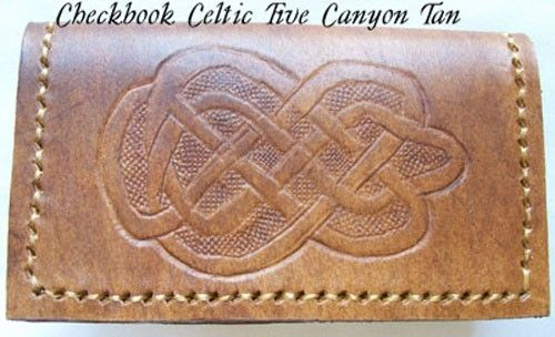 Custom Made Custom Leather Checkbook Cover With Celtic 5 Design And In Canyon Tan