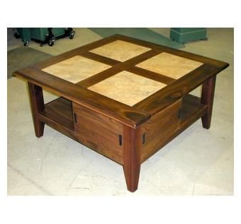 Custom Made Walnut & Tile Sofa Table