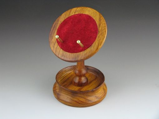 Custom Made Pocket Watch Stand, Rosewood With Dark Red Velvet Cushion