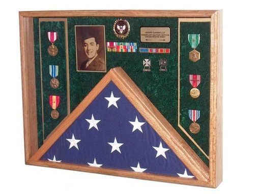 Custom Made Deluxe Combo Awards Flag Display Case