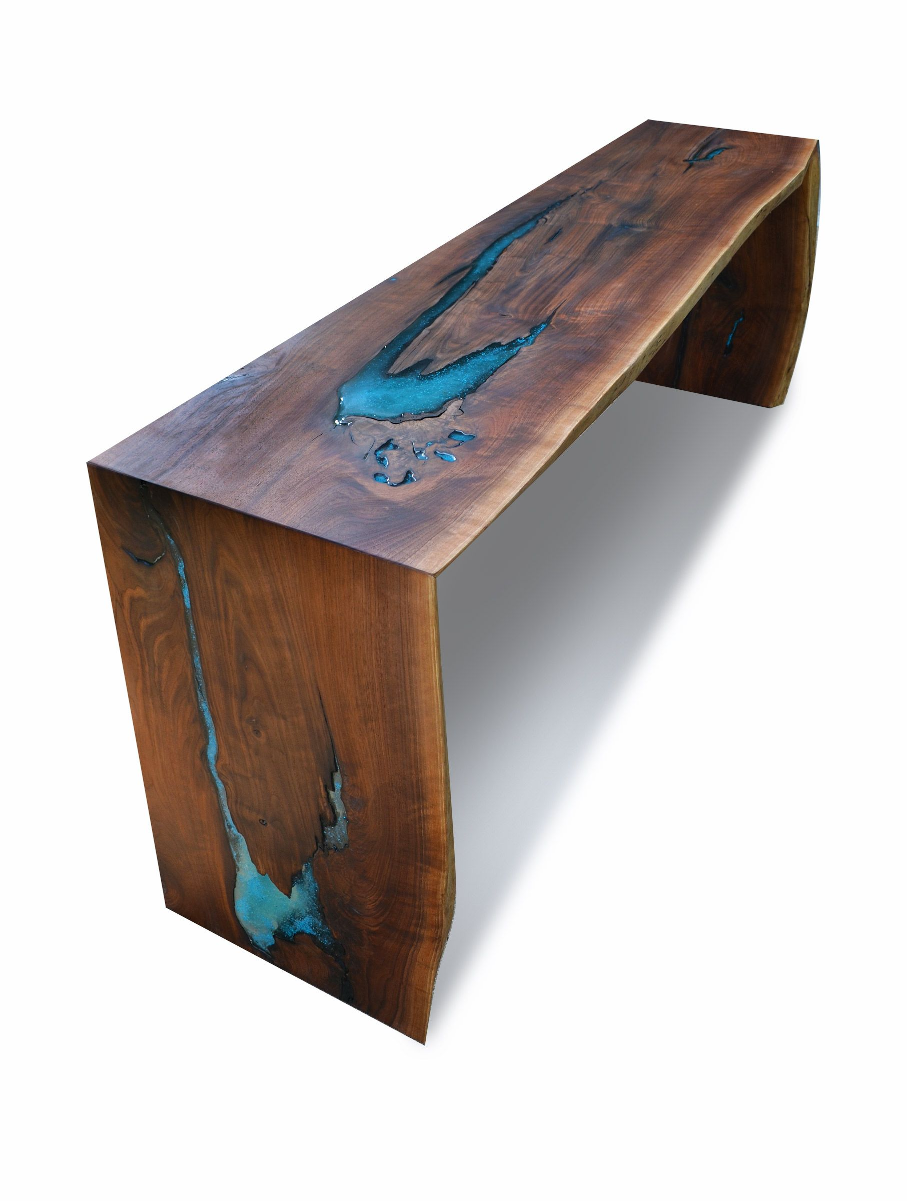 Custom Made Live Edge Walnut Epoxy Resin Turquoise Inlay Dining Console b2805dd4b