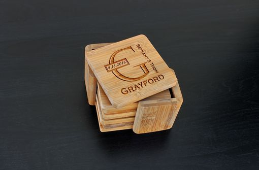 Custom Made Custom Bamboo Coasters, Custom Engraved Coasters --Cst-Bam-Grayford