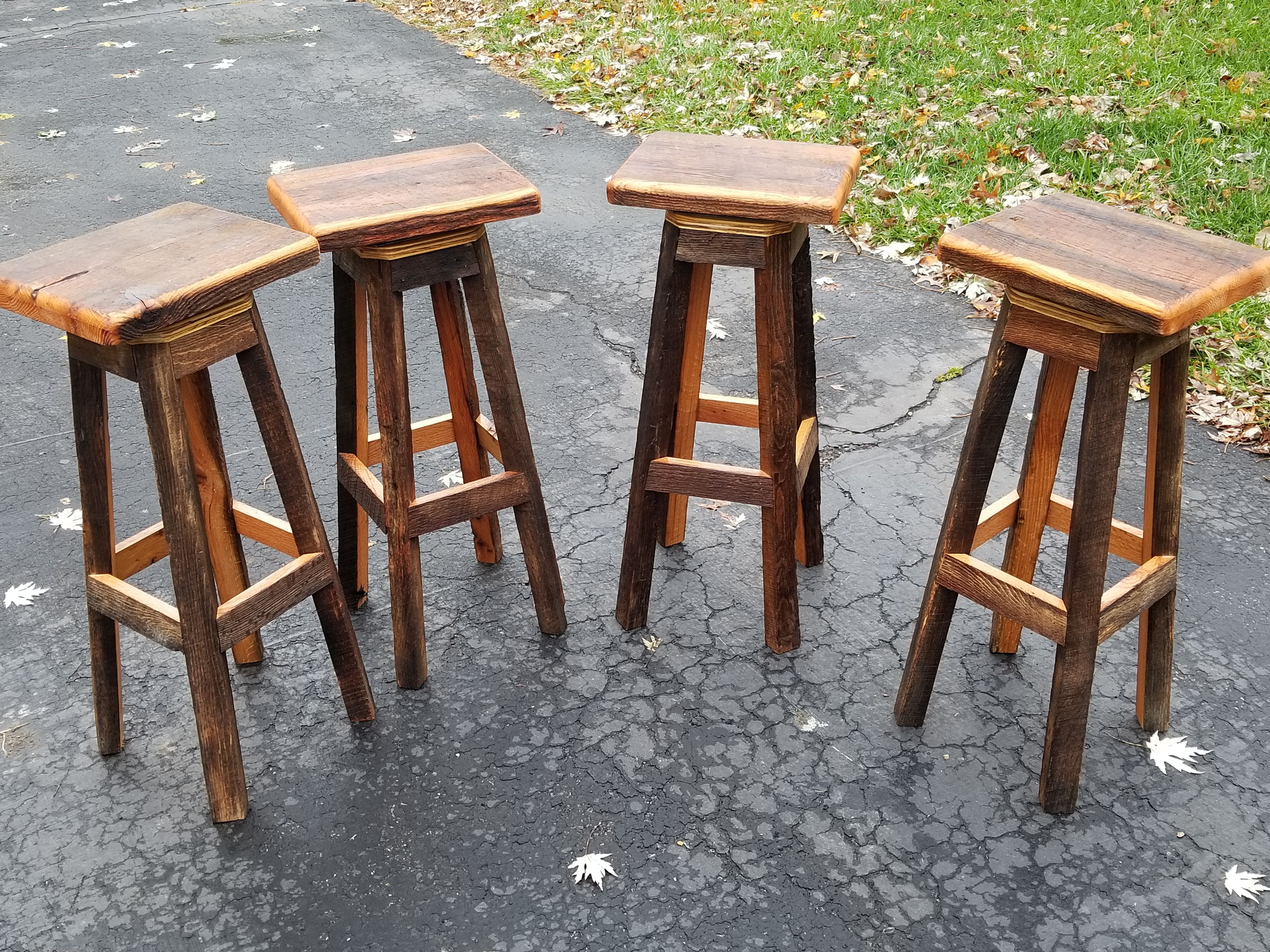 Buy Hand Crafted Rectangle Swivel Reclaimed Wooden Bar Stools With Free Shipping Made To Order From Heartland Woodworking And Furniture Custommade Com