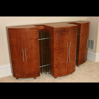"Custom Made Modern Media Cabinet, Tv Lift, Entertainment Center, Art Deco Style, ""The Gable"""