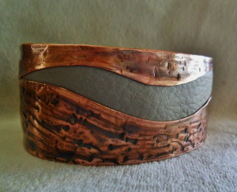 Custom Made Light Grey Leather Textured Copper Cuff Bracelet